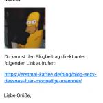 Beispiel E-Mail über neuen Blog Beitrag